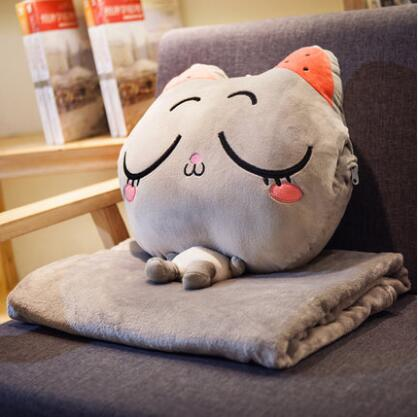 Cushion Blanket cushion dual purpose multi-function 3D Cat blanket cartoon plush child adult sofa bed home car Dec FG662