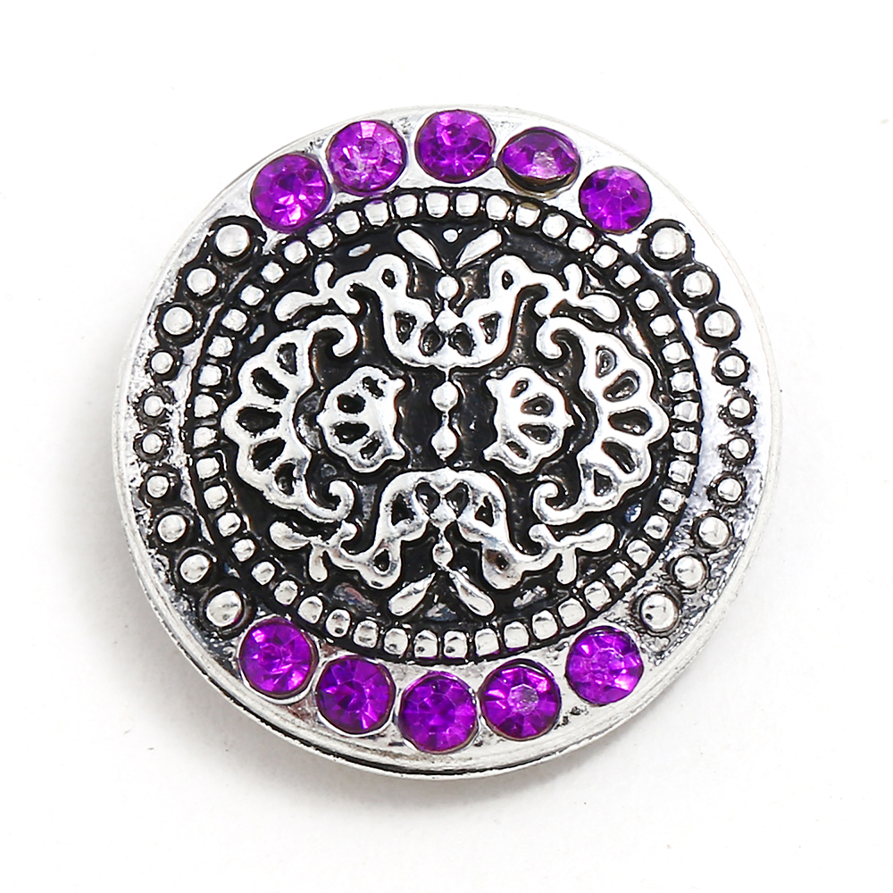 10pcs/lot IB053 New Snap Jewery Antique Silver Crystal flower Snap Buttons Fit 18mm Snap ...