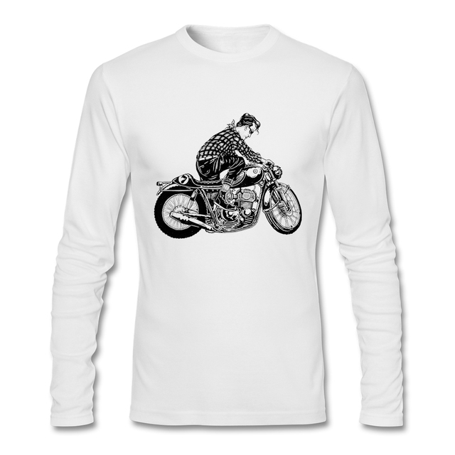 Sale barato cafe racer Hombres Camiseta de Manga Larga O Cuello de Algodón Orgánico Camiseta Top de Los Hombres