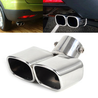 1x Universal CURVED Exhaust Tailpipe Tail Pipe Rear Muffler End Trim For Nissan Versa Honda Fit