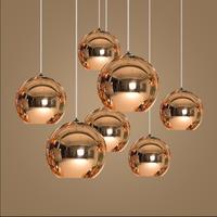 Tom DIXON Modern LED Chandelier Pendant Handing Ceiling Lamp Light Glass Ball Copper/Sliver/Gold Shade Mirror E27 Bar Kitchen