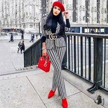 Зимний костюм из 2 предметов с длинными рукавами, Женский уличный комплект для вечеринки, расклешенные клетчатые брюки и блейзеры, новинка, Элегантный женский клубный набор