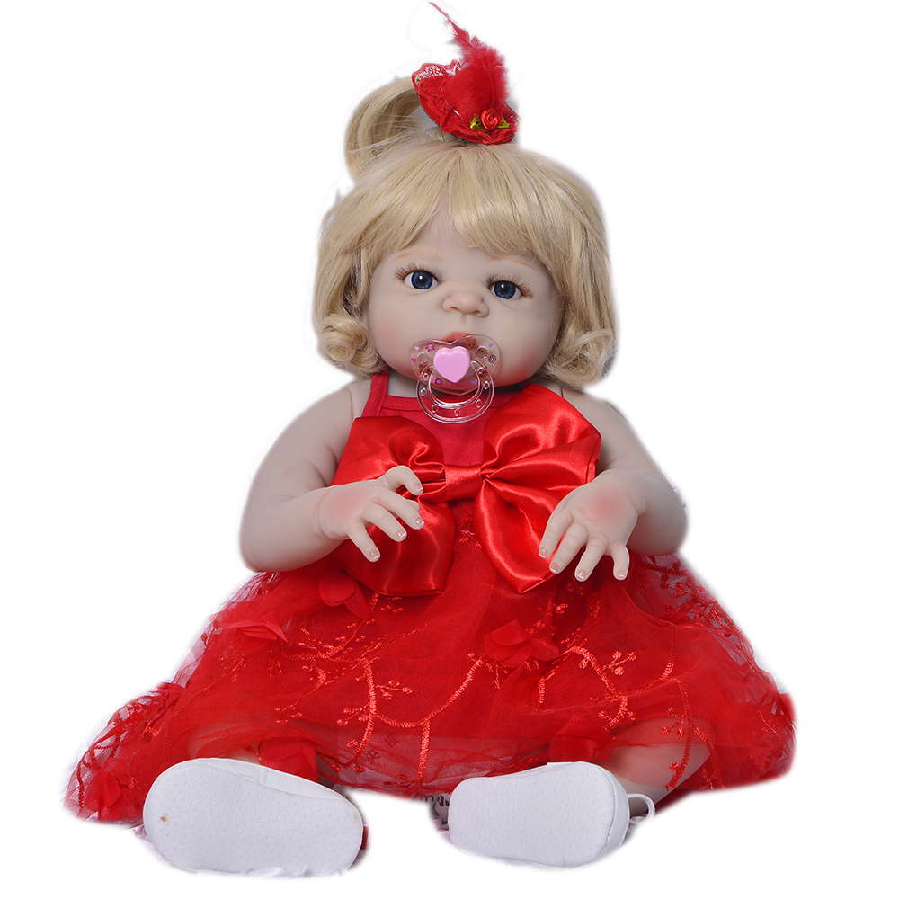 23 Inch Fashion Reborn Babies Dolls Full Silicone Vinyl Newborn Doll Girl Toy Realistic Princess Reborn Boneca Toddler Present cute truly newborn doll 23 inch fashion baby toy realistic full vinyl silicone babies doll handmade gift for girl reborn boneca