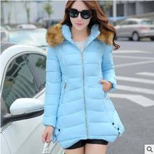 2016 winter women jacket cotton padded clothing down parka overcoat casual Large Fur Plus Size Thickening
