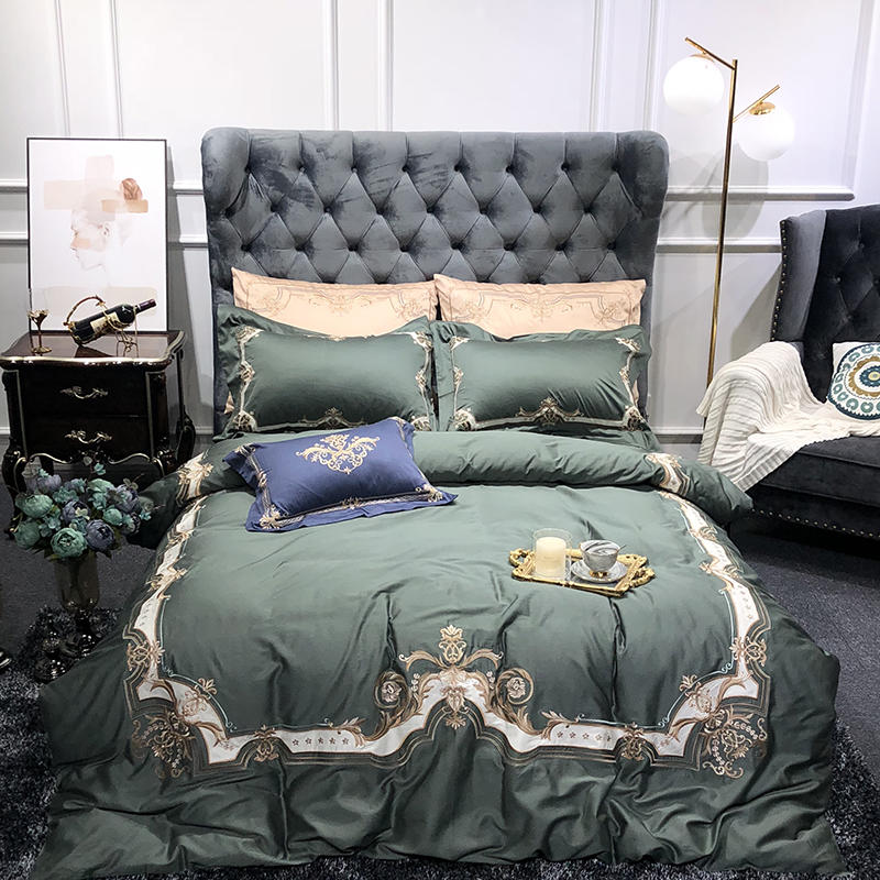 Green and White Europe Luxury Duvet Cover Set with Zipper 100% Egyptian Cotton Bedding set Queen King size Bed sheet set 4/7PcsGreen and White Europe Luxury Duvet Cover Set with Zipper 100% Egyptian Cotton Bedding set Queen King size Bed sheet set 4/7Pcs