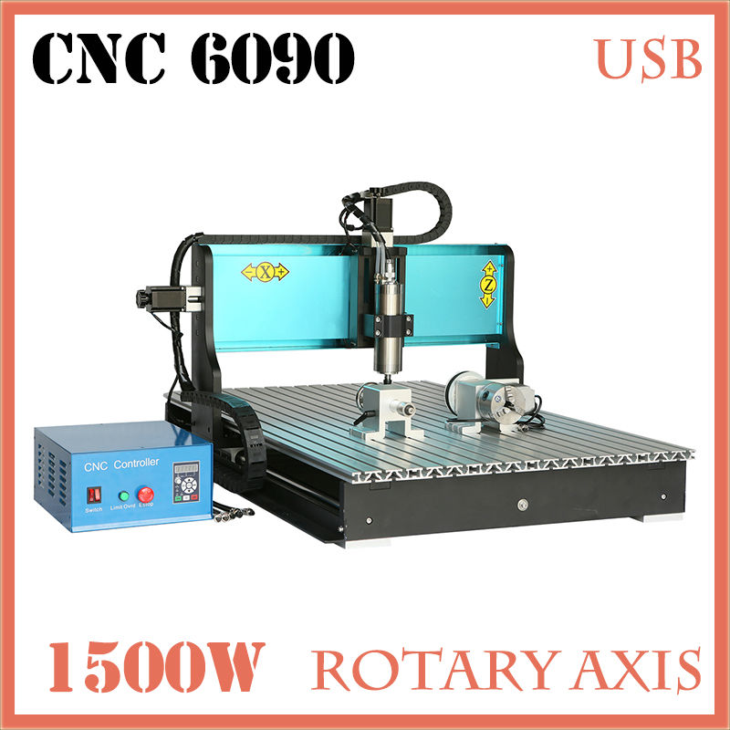 JFT Wood Hobby CNC Router High Quality 1500W Factory CNC Engraver 4 Axis Engraving Machines with USB 2.0 Port 6090