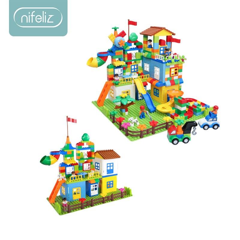 242 pièces marbre courir blocs de construction ABS parc d'attractions labyrinthe jouets éducatifs pour enfants compatibles Legoed Duploed briques