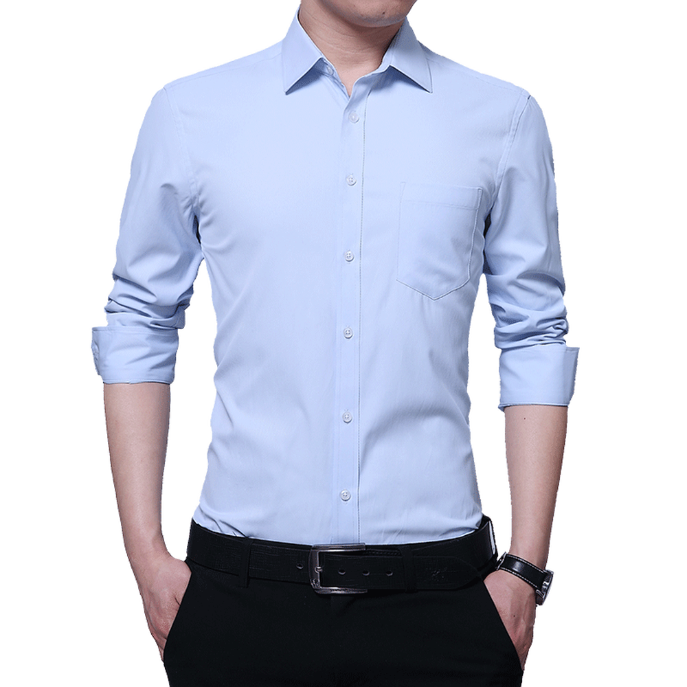 Trendy Men Business Long-sleeved Shirt Male Dress Shirts Solid Color Soft Single Breasted Slim Breathable New Fashion Style 5XL