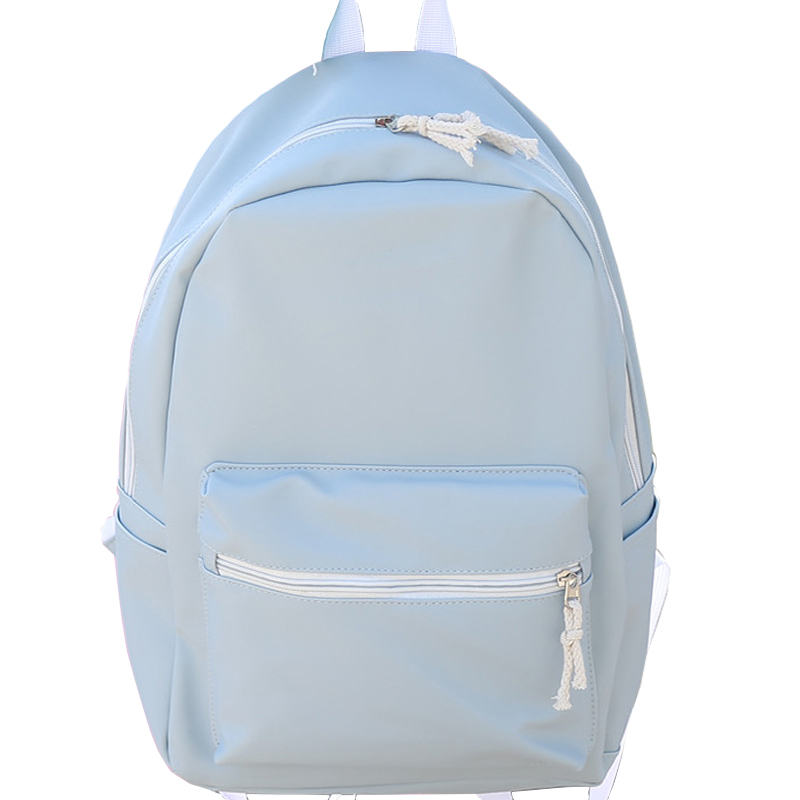 New Pu Leather Solid Sweet Girl Backpack Cute Style Candy Color High Quality Large Capacity Rucksack