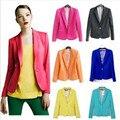 Nueva Moda 2017 Mujeres Del Resorte Ocasional Delgado Tops Capa de la Chaqueta turn-down collar abrigos traje de un botón de la chaqueta chaquetas outwear 7 colores