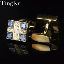 hot deal buy [free shipping]personalized mens jewelry fashion shirt cufflinks blue for mens gift brand cuff links buttons golden high quality