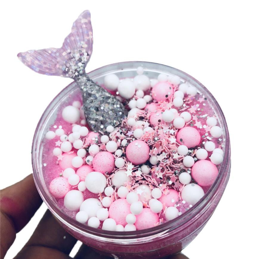clay slime diy putty slime Mermaid Mixing Cloud Slime Squishy Putty Scented Stress Kids Crystal Clay Toy air dry clay foam beads