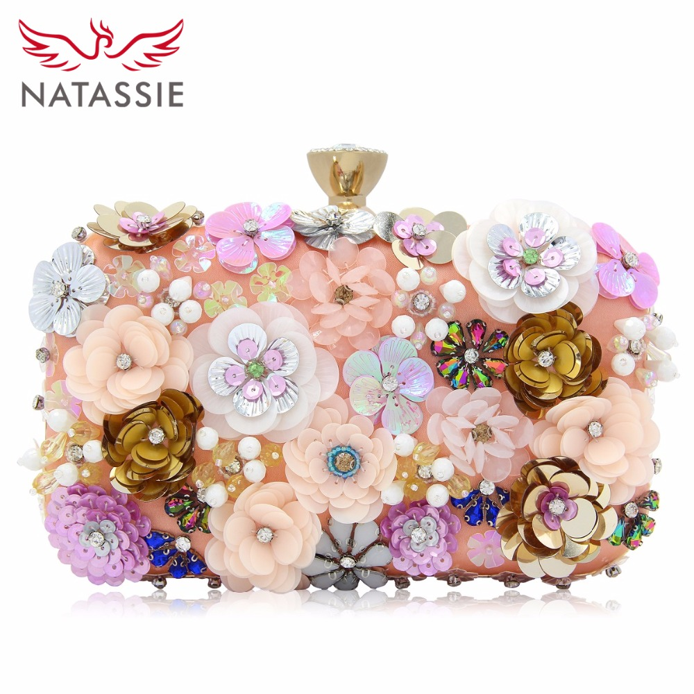 NATASSIE Women Flower Evening Clutch Bag Ladies Day Clutches Female Bags Floral Wedding Purse