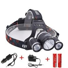 5000 Lumen XM-L T6+2R5 LED Rechargeable Headlamp  4Mode Headlight Flashlight Head Lamp +2x 18650 Battery &Charger