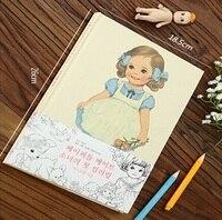 Regalos promocionales 260 * 185mm. retro Corea Muchacha de La Muñeca Dulce serie de Dibujo libro. Coloringbook. la práctica de Los Niños pintura. venta al por menor de gran