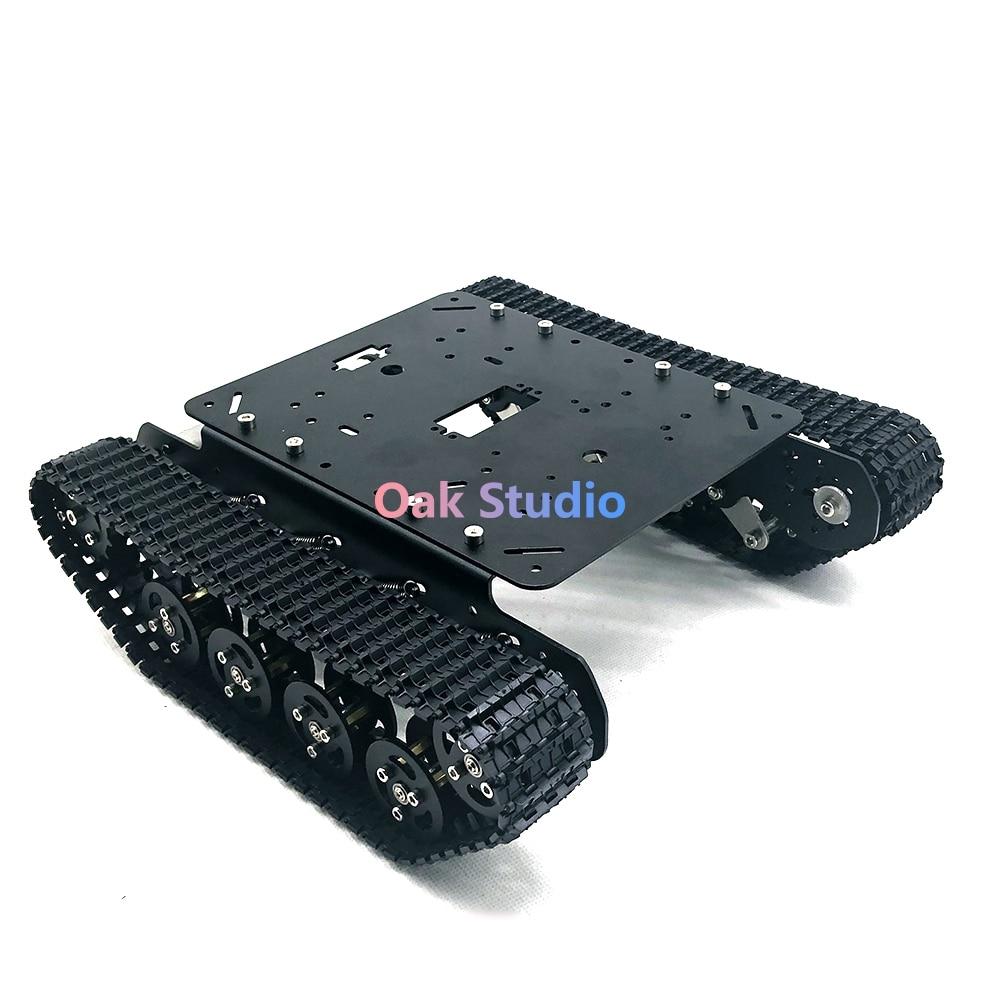 TS100 สีดำรุ่นอลูมิเนียมอัลลอยด์/กรอบถังรถโช๊คอัพมอเตอร์แรงบิดสูง, สำหรับถังแฟน, DIY, หุ่นยนต์ demo-ใน ชิ้นส่วนและอุปกรณ์เสริม จาก ของเล่นและงานอดิเรก บน   1