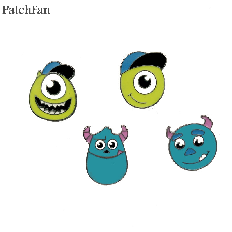 Badges 20pcs/lot Patchfan Monsters Family Diy Zinc Tie Cartoon Cute Pins Backpack Clothes Brooches For Men Women Hat Badges Medal A1062 Can Be Repeatedly Remolded. Apparel Sewing & Fabric