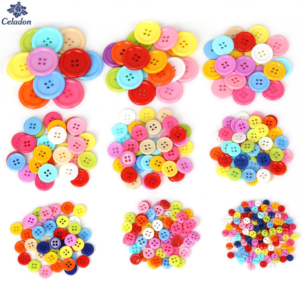 Arts,crafts & Sewing 20-200pcs Multi Size 4 Holes Buttons Random Mixed Round Resin Sewing Buttons For Scrapbooking Craft Fashion Accessories Elegant And Sturdy Package Home & Garden