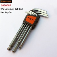 SHEFFIELD S050007 9 Pz Lungo Braccio Palla End Chiave Esagonale Set e S050008 9 Pz Long Arm Hex Key Set Testa L Forma Esagonale Spanner Wrench