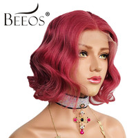 Beeos 180% Lace Front Human Hair Wigs for Women Middle Part Red Wavy Short Bob Lace Wig Brazilian Remy Human Hair Pre Plucked