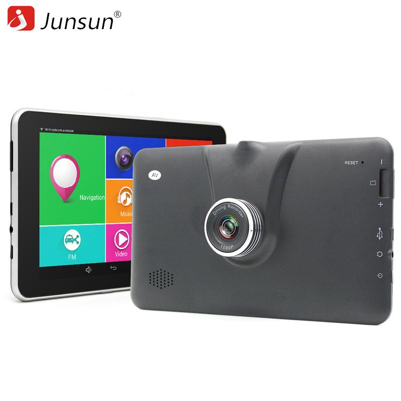 Prix pour Junsun Nouveau 7 pouce Android 4.4 Voiture GPS Navigation FHD 1080 P voiture DVR Caméra Enregistreur WiFi Bluetooth Russie Europe carte Véhicule gps