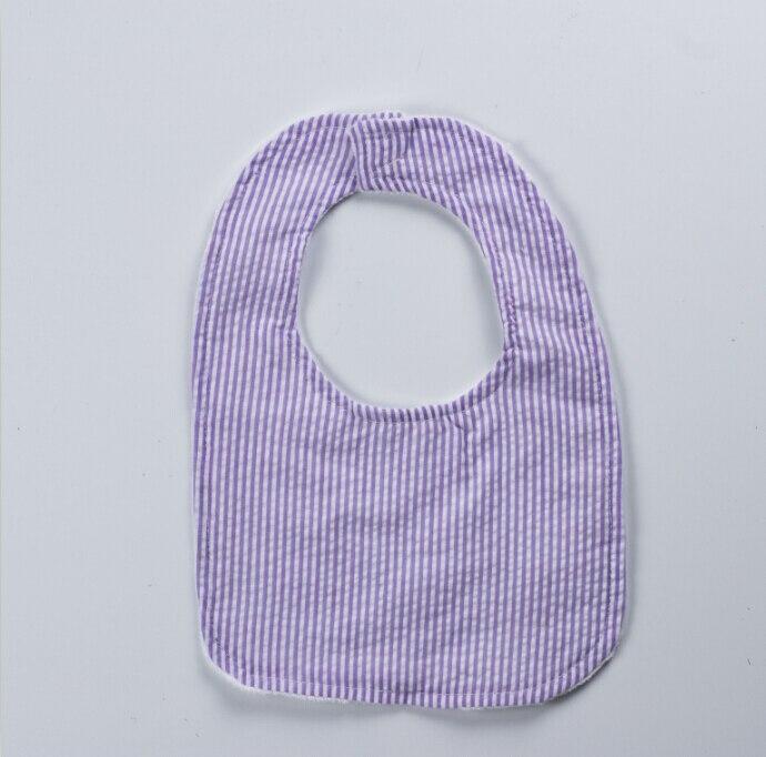 Hot selling Personalized Monogrammed seersucker baby bib Baby Bandana Drool Bibs Cotton purple Smocked minky bib