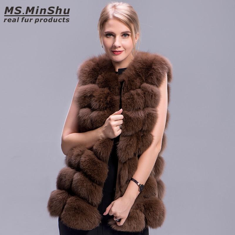 Fourrure Cm De Sans Mode Naturel Outwear Gilet Manteau Style Brown Renard 70 Manches D'hiver Ms Réel Épais Minshu I0qSwXg