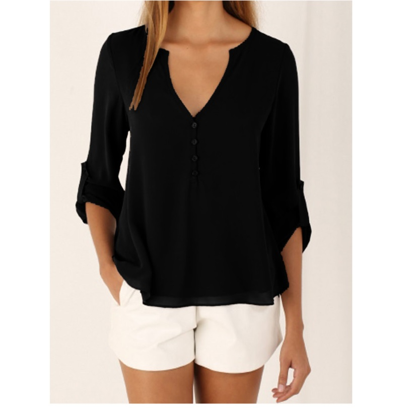 2019 Women Shirts Summer Autumn Casual V-neck Chiffon Blouse Womens Tops And Blouses Long Sleeve Black White Ladies Blouse Shirt