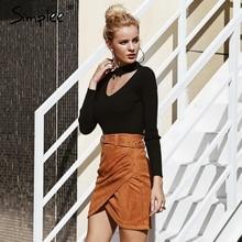 Simplee Sash wrap suede leather women skirt streetwear High waist belt mini skirt Autumn winter pencil skirts female 2018