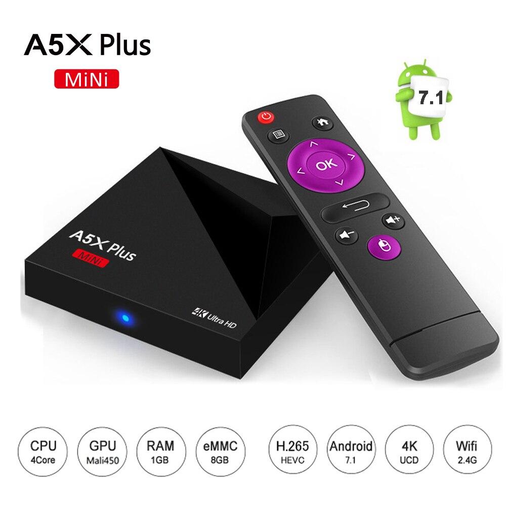 Más reciente Android 7.1 RK3328 A5X Plus Mini TV BOX Rockchip 1 GB/8 GB 2.4G WiF