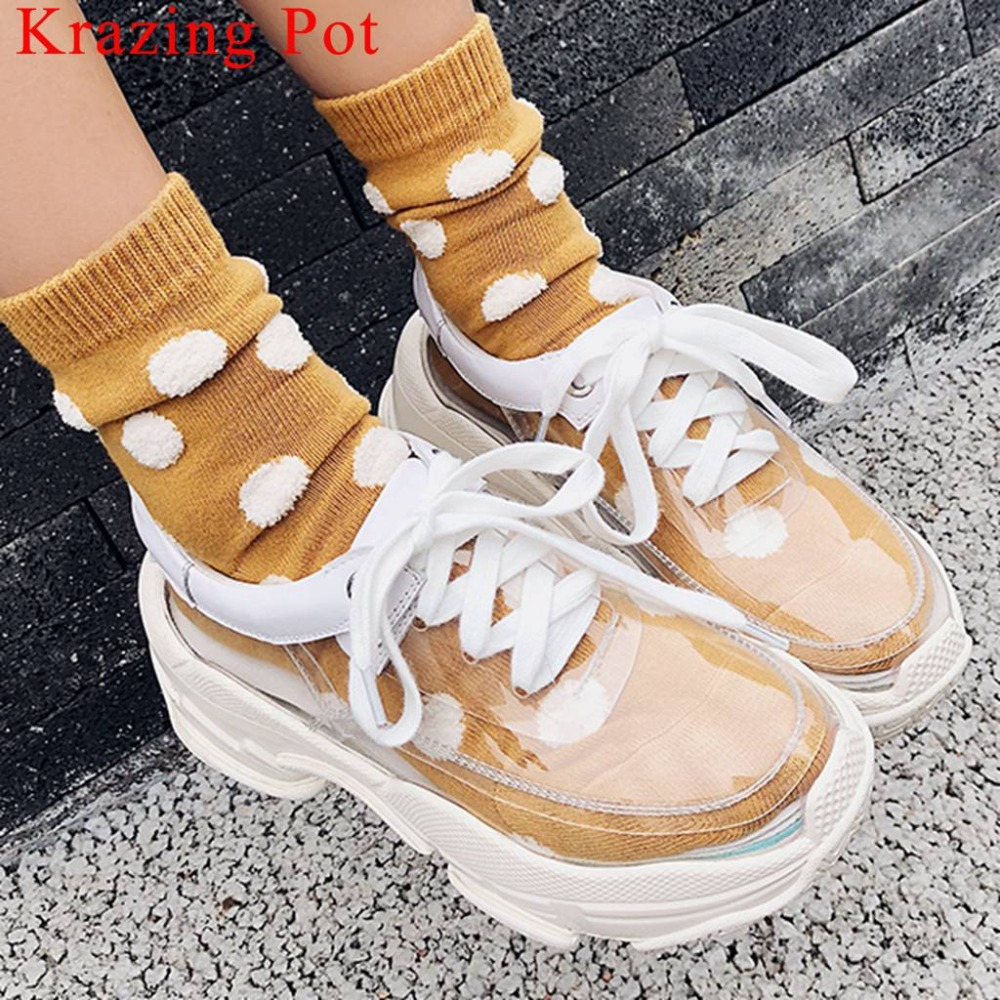 Large size transparent pvc material genuine leather white sneaker lace up concise thick bottom platform vulcanized