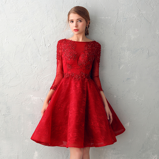 a942b5b176a Elegant O-neck Sexy Backless Long Sleeves Short Prom Dresses 2017 Lace Wine  Red vestido