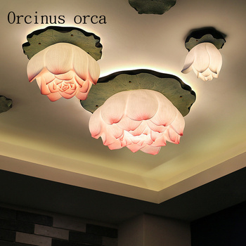 Originality New Chinese Style Lotus Ceiling Lamp Living Room Bedroom Dining Room Balcony Artistic Decoration Lotus Round Lamp