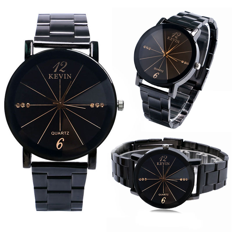 Business Men Women Waches Simple Black/Beige Crystal Dial Stainless Steel Buckle Band Strap Quartz Gift for Unisex Gift kevin exquisite ladies watch trendy stainless steel band strap black beige dial women watches creative simple special design