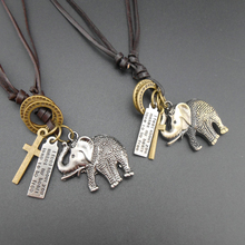 Vintage leather rope necklace long feather male leather cord necklace male female Elephant pendant necklace male Jewelry fd