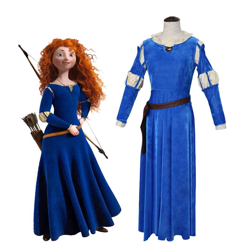 Movie Brave Cosplay Princess Merida Costume Women Blue Dress Outfit Halloween party cosplay clothes For Girl drama Dresses