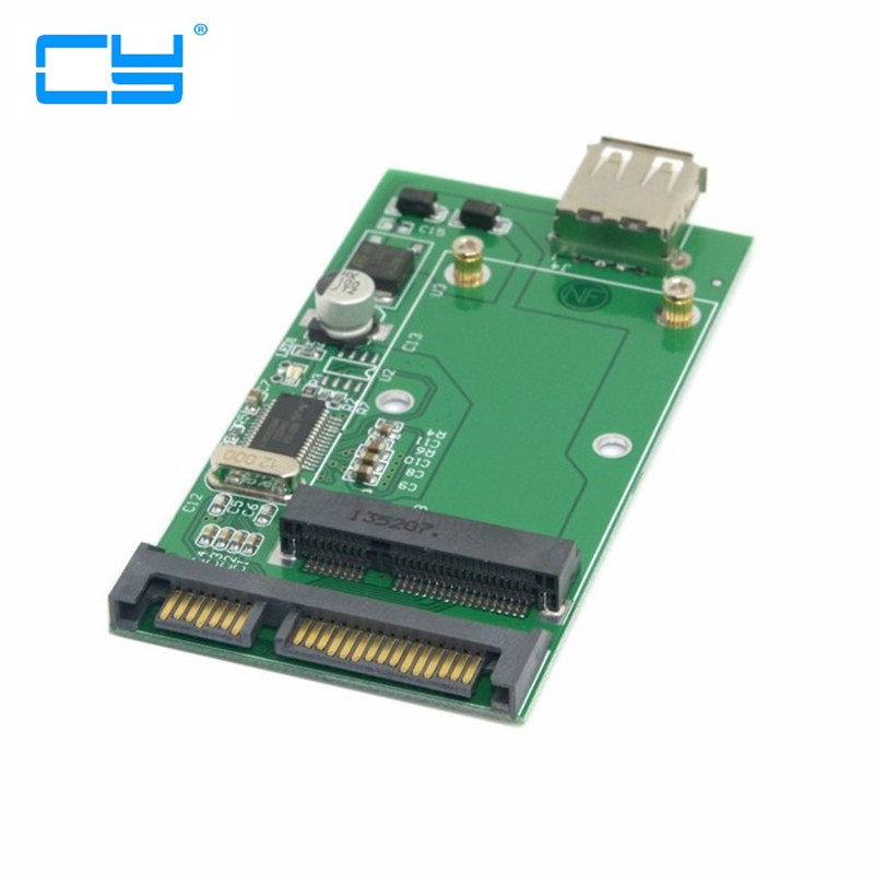 Combo mSATA Solid State Disk SSD to SATA 22pin & USB 2.0 Hard Disk Case Enclosure PCBA cy u3 179 bk 50mm mini pci e msata 6gbps solid state ssd to usb 3 0 hard disk enclosure black
