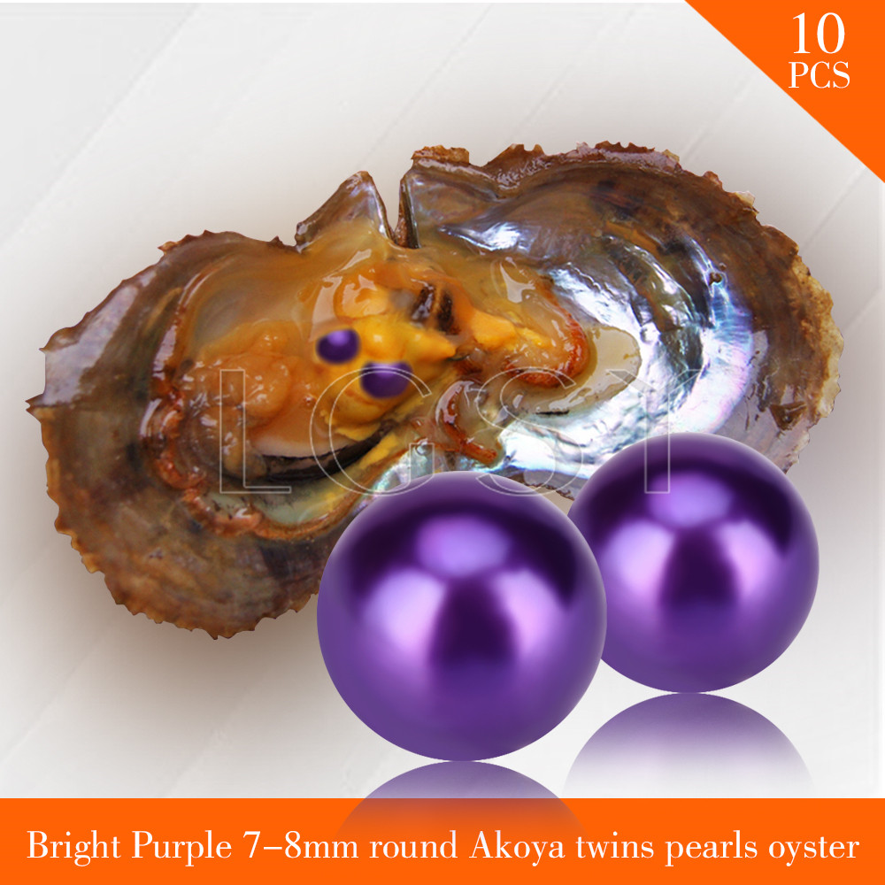 FREE SHIPPING Bead Bright purple 7-8mm round Akoya twin pearls in oysters with vacuum package for women jewelry making 10pcs free shipping 10pcs cl520aje clc520aje page 7