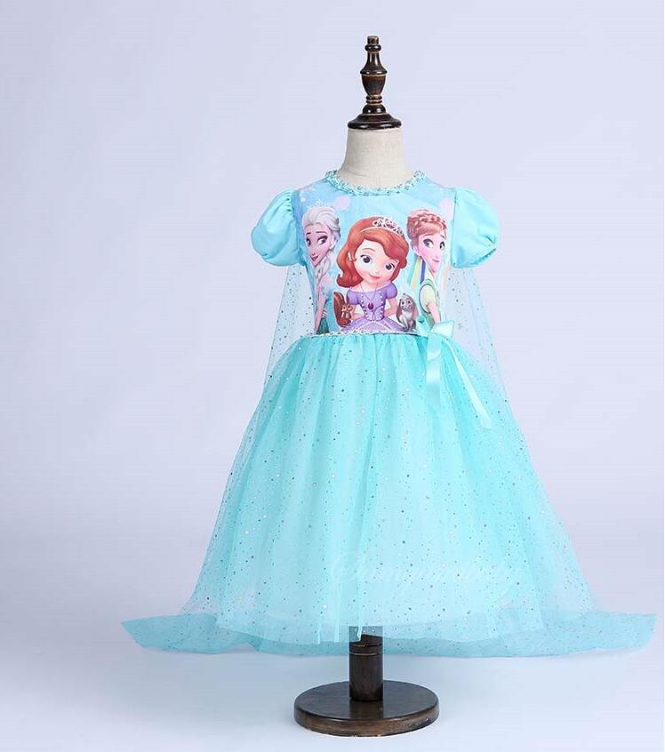 Einzelhandel Neue Ankunft Mode Elsa Prinzessin Kleid Für Mädchen Baby Kinder Kleider Mit Langen Schal Schnee Mädchen Hochzeit Kleid Mädchen Kleidung Mutter & Kinder 3-8 Jahre
