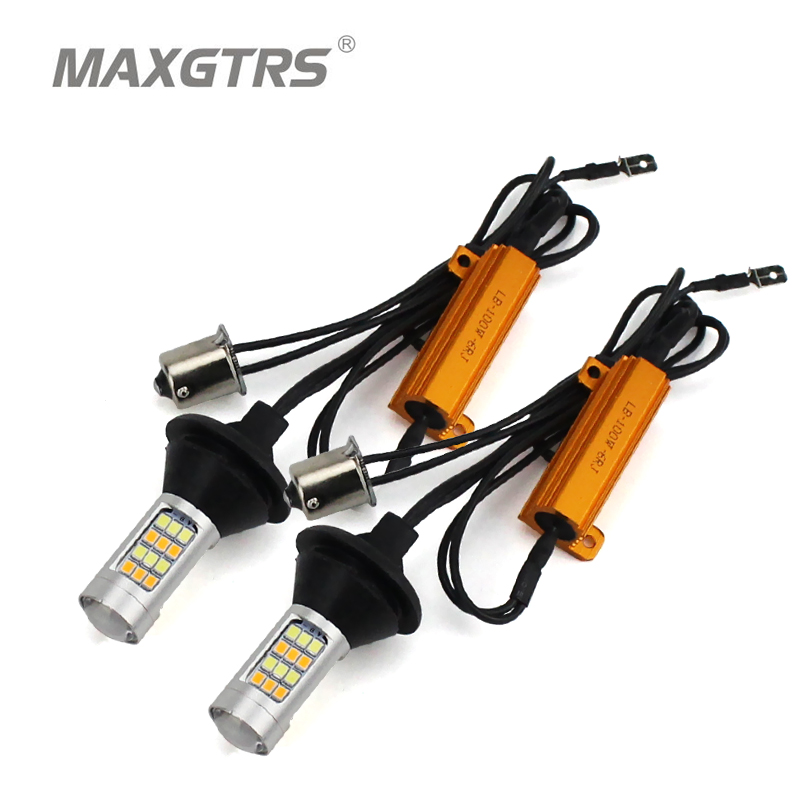 2x BAU15S S25 1156 Dual Color 42SMD 2835 LED Car LED Bulbs Front Turning Light Signal DRL Error Free Canbus With 100W Resistance 2x 1156 ba15s s25 bau15s canbus dual color switchback led car auto front turn signal drl daytime running light lamp bulb 12 24v