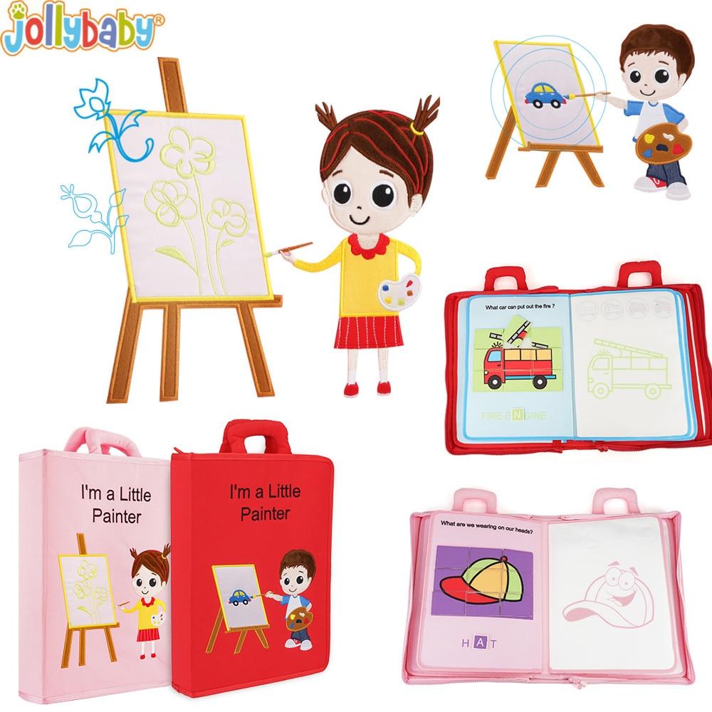 Jollybaby bébé jouets enfants développement précoce tissu livres apprentissage éducation activité livres coloriage je suis un peu peintre