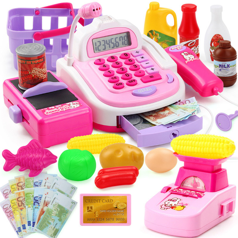 46PCS Kids House Toys Simulation Supermarket Checkout Counter Electronic Cash Register Pretend Play Shopping Toys for Children Lahore