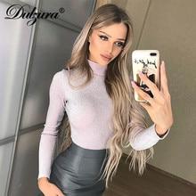 Dulzura women t shirt glitter sparkle bling high neck sexy long sleeve  tshirt clothes 2018 autumn 0e13e4801b8c