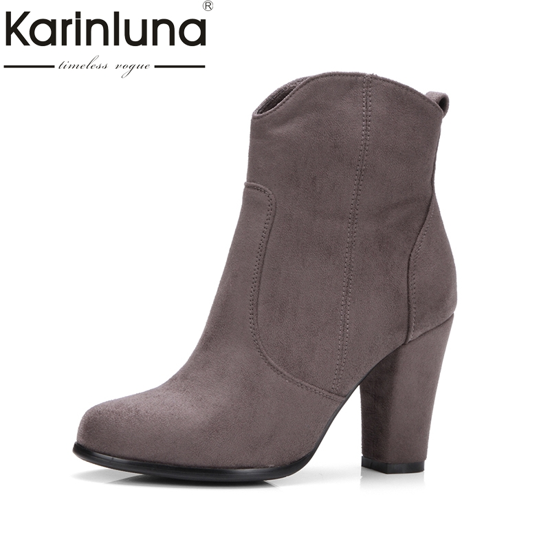 KARINLUNA Brand Large Size 34 43 Vintage Spike High Heels Ankle Boots Woman Fashion Platform Party