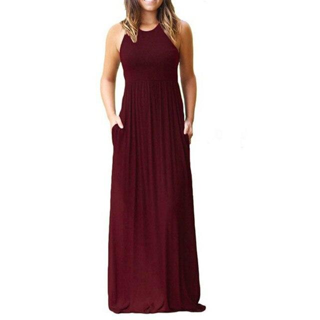 new style & luxury pick up classic US $11.69 14% OFF Femme Boho Long Dress Summer Women Maxi Dress 2018 Women  Sexy Sleeveless Tank Dresses Summer Casual Pocket Beach Sundress GV596-in  ...