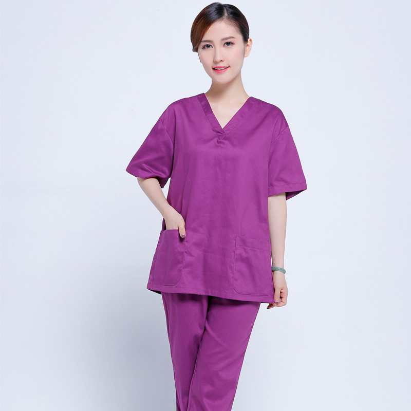 New plus size womens V neck Nurse Uniform Hospital Medical Scrub Set Clothes Short Sleeve Surgical Scrub suit for dental clinic