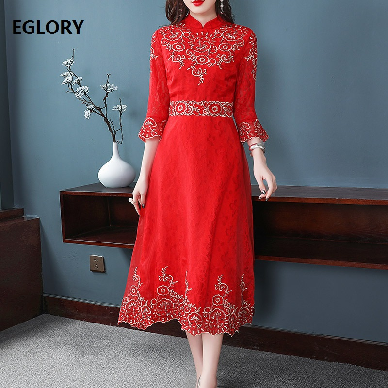 High Quality Brand Red Party Luxurious Dress Women Exquisite Embroidery 3/4 Sleeve Mid Calf Length Vintage Retro Dress De Festa
