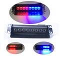 New Car Styling 8 Dash Azul Rojo LED Luz Del Flash Del Estroboscópico Del Coche Policía de Emergencia Intermitente 3 Faros antiniebla Envío libre