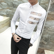 Mens Shirts Casual Camicie Uomo Lace Design Long Sleeve Shirt Slim Fit Chemise Homme Man Camisas Social Masculina Feminina