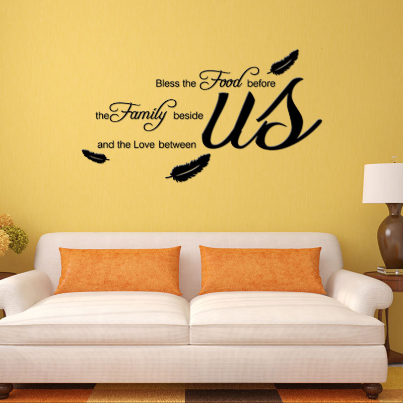 AW9114 Bless The Food Family Love Religious Dining Room Vinyl Wall Decal Quote Stickers Mural ArtFree Shipping In From Home Garden On